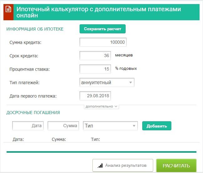 Ипотечный калькулятор с дополнительным платежами онлайн